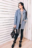 Женское весеннее пальто из шерсти голубой