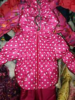 """Демисезонный костюм  модель """"Крошка""""  розовый горох цветной"""