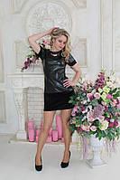 Женское платье из эко кожи и велюра