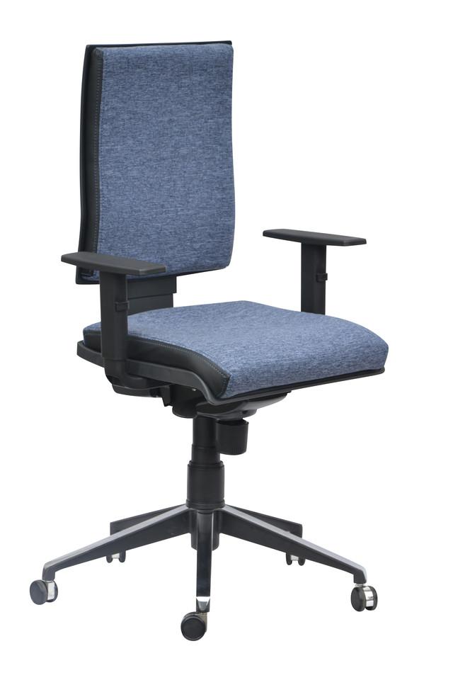 Кресло Спейс Алюм HB Papermoon-52 голубой/боковины Неаполь-20 чёрный.