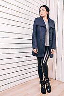 Женское пальто на весну 2017 из шерсти синий джинс