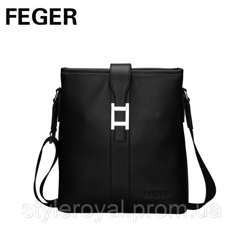 Черная кожаная сумка Feger