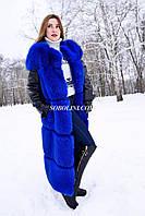 Жилет из меха финского песца, цвет синий электрик, рукава кожаные отстегиваются, длина 100см, фото 1
