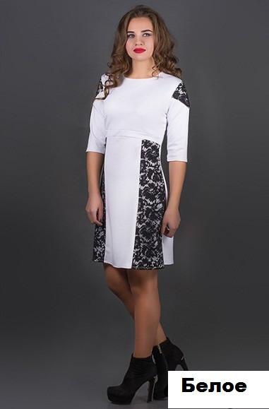 Женское платье с гипюром-белое