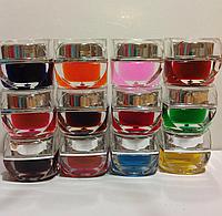 Цветной, витражный или глитерный гель для ногтей. Набор 12 шт