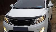 Дефлектор капота (мухобойка) KIA Rio 11-, седан/хетчбек, темный