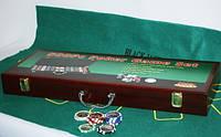 Набор для игры в покер в деревянном кейсе (500 фишек, две колоды карт)
