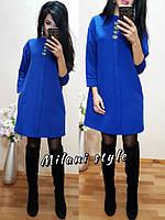 Платье короткое трапеция с карманами костюмная ткань 5 цветов 1SMmil1078