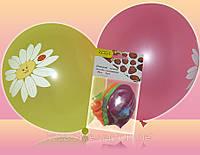 Воздушные шары круглые разноцветные металик/неон 30см с рисунком  5шт/уп