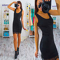 Трикотажное платье-майка мини с кружевом черное