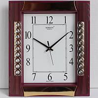 Настенные кварцевые часы Rikon 602-1 красно-коричневые с золотом.