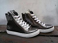 Женские ботинки 2017, натуральная лаковая кожа, цвета темная сталь / ботинки  женские на шнуровке, модные
