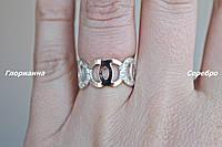 Серебряное кольцо с золотом Шанель2 (р.16,5)