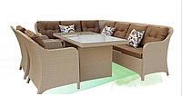 Комфортная мебель для террасы из искусственного ротанга Адель