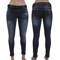 Джинсы женские узкие, синие с потертостями