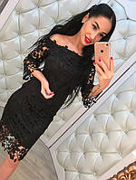 Женское кружевное платье с открытыми плечами. Материал кружевной гипюр. Размер 42-44.