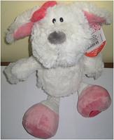 Сувенир 06-19 мягк Собака белая с красным бантом 26см