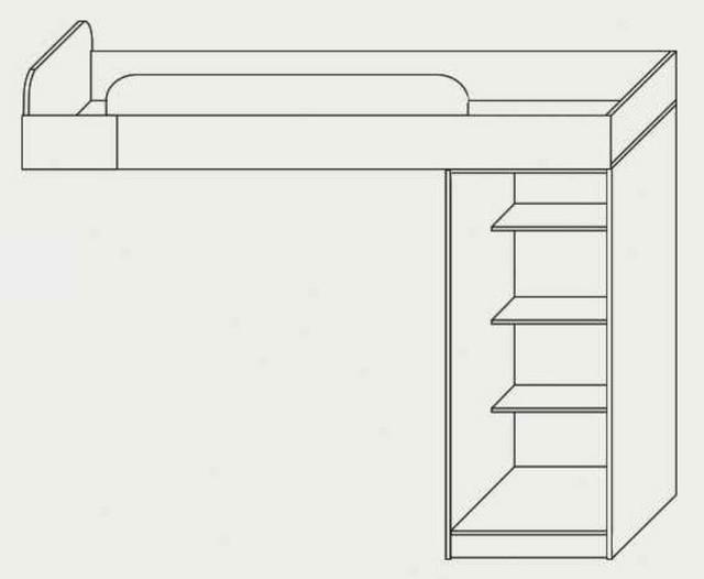 Кровать верхняя с тумбой Твинс (схема)