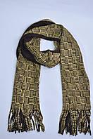 Шарф платок женский мужской унисекс горчичный бахрома