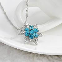 Кулон Снежинка синий Горный хрусталь