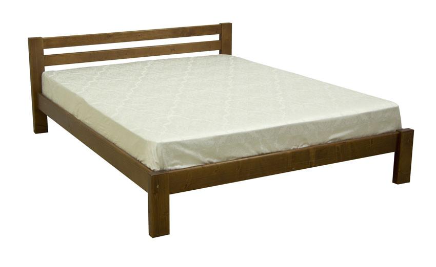 Двуспальная кровать из натуральной древесины, с прямыми формами производства фабрики Скиф. Модель Л-205