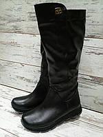 Женские сапоги зимние кожа, высокие, черные / сапоги  женские, натуральная кожа, модные