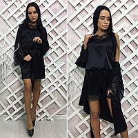 Женский комплект атласный халат + комбез