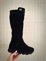 Женские сапоги зимние замша, высокие, черный / сапоги  женские, натуральная замша, модные