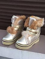 Женские ботинки зима, эко кожа, цвет стальной / ботинки  женские зимние, опушка из натурального меха, модные