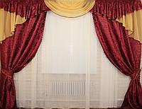 Комплект ламбрекен (№50) с шторами на карниз 2,5-3м. 050лш054