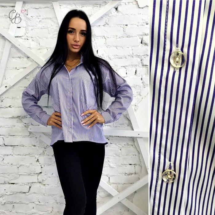 Рубашка женская в полосочку котоновая