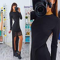 Платье: спереди короткое с Кружевом, сзади длинное