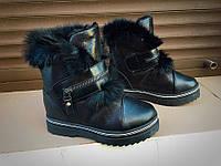 Женские ботинки зима, эко кожа, черные / ботинки  женские зимние, опушка из натурального меха, модные
