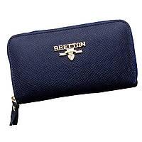 Кошелек ключница женская Bretton из натуральной кожи. Чехол для ключей. Оранжевый, синий и черный цвет. Синий