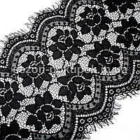 Французское кружево (Шантильи, с ресничками) ширина 23,5см (цена за 3 м). Цвет - черный, фото 1