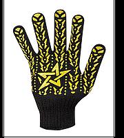 Перчатки рабочие трикотажные ПВХ, Звезда Долони, черные, 7кл, 10 размер