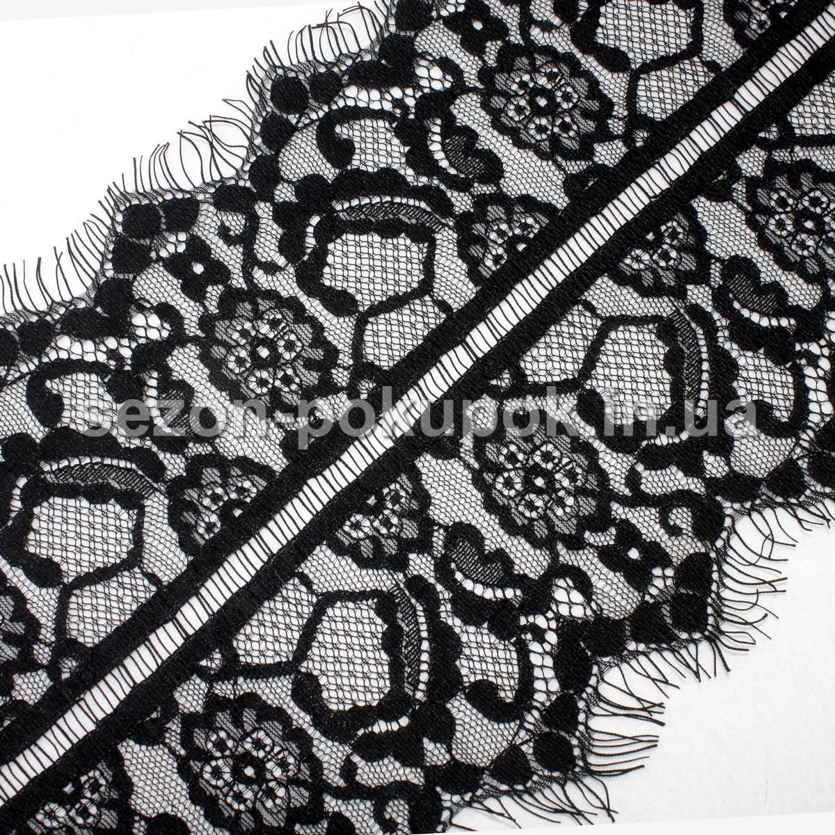 Французское кружево (Шантильи, с ресничками) ширина 18см (цена за 3 м). Цвет - черный, фото 1
