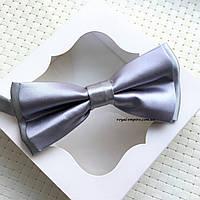 """Мужская бабочка  """"Тасия"""" в подарочной коробке, серый."""