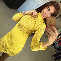 Модное женское платье из хлопкового кружева. Размер м,л. Цвет: желтый, черный,белый.Материал хлопковое кружево