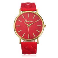 Cтильные модные женские часы Geneva Classic, красные