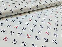 Хлопковая ткань якоря сине-красные на белом