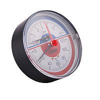"""Термоманометр аксиальный 1/2"""" с запорным  клапаном (0-6бар) зад.подкл. №259 ICMA"""