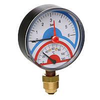 """Термоманометр радиальный 1/2"""" с запорным  клапаном (0-6бар) №258 ICMA"""