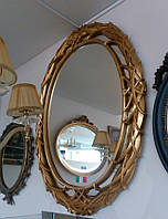 Зеркало овальное настенное в золотой раме Arte Arredo Италия