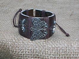 Женский кожаный браслет БАБОЧКА, ручная работа
