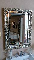 Прямоугольное зеркало в резной раме серебро Arte Arredo