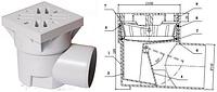 Трап боковой с сухим затвором 90 Grad канализационный  150x150 (d110мм) Интерпласт