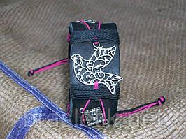 Женский кожаный браслет на руку ГОЛУБЬ ажурный, ручная работа