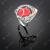Серебряное кольцо с кораллом. Артикул П-316