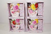 """Чашка с ложкой в подарочной упаковке серия """"Цветы"""" Розы с сердцами"""